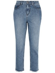 Jaeger Raw Hem Cropped Jeans Mid Blue