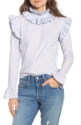Lost Ink Ruffle Neck Blouse Blue