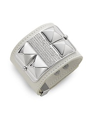 Rebecca Minkoff Pave And Leather Studded Wide Cuff Bracelet White Silver
