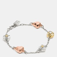 Coach Daisy Rivet Heart Locket Bracelet Silver Rosegold Gold