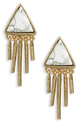 Treasure And Bond Women's Triangle Fringe Stud Earrings White Gold