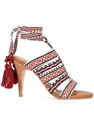 Ulla Johnson Sabina Tribal Sandals Women Cotton Leather 10 Red
