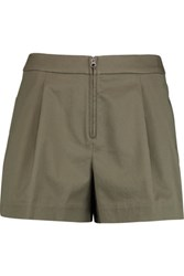 3.1 Phillip Lim Bloomer Pleated Cotton Blend Shorts Army Green