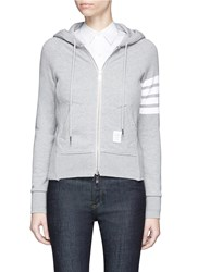 Thom Browne Stripe Sleeve Cotton Zip Hoodie Grey