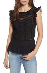 Hinge Mixed Lace Peplum Top