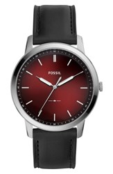 Fossil Minimalist Leather Strap Watch 44Mm Black Red Silver