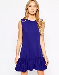 Liquorish Peplum Hem Dress With Long Zip Navy