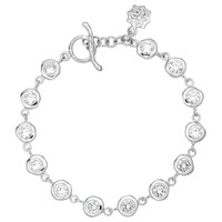 Dower And Hall Sterling Silver White Topaz Dewdrop Line Bracelet Silver