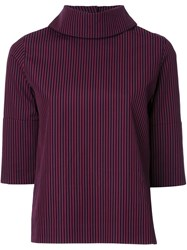 Taro Horiuchi High Neck Striped Blouse Red