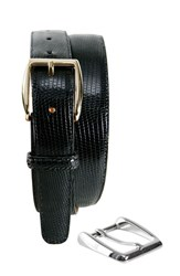 Men's Big And Tall Trafalgar 'Windsor' Lizard Leather Belt With Interchangeable Buckles Black