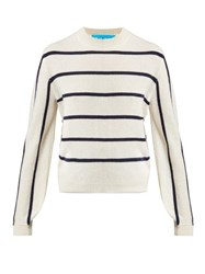 M.I.H Jeans Ashton Striped Cashmere Sweater Cream Navy
