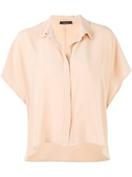 Roberto Collina Shortsleeved Collared Blouse Women Silk L Nude Neutrals