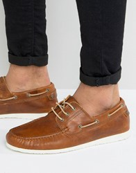Dune Belize Leather Boat Shoe Tan Brown