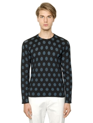 Dolce And Gabbana Polka Dot Printed Cashmere Blend Sweater Black Petrol