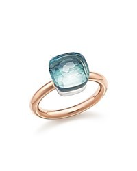 Pomellato Nudo Classic Ring With Blue Topaz In 18K Rose And White Gold Blue Rose