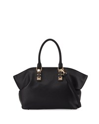 Neiman Marcus Sophia Faux Leather Satchel Bag Black