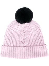 N.Peal Bobble Beanie Hat Pink And Purple