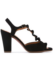 Chie Mihara Ruffle Mid Heel Sandals Women Leather Suede Rubber 37.5 Black