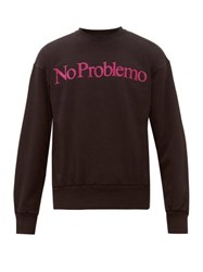 Aries No Problemo Flocked Cotton Sweatshirt Black
