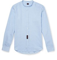 Massimo Piombo Mp Slim Fit Grandad Collar Puppytooth Linen Shirt Blue