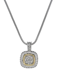 Alfani Two Tone Crystal Pave Pendant Necklace