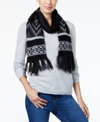 Charter Club Fair Isle Chenille Scarf Only At Macy's Black Grey
