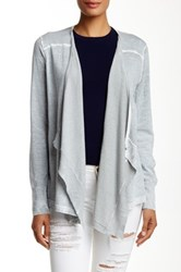 Cullen Back Pleat Linen Blend Cardigan Gray