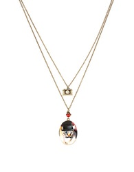 Betsey Johnson Vintage Lockets Cat Duo Pendant Necklace Gold