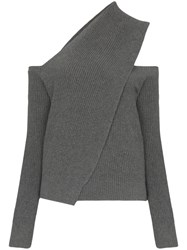 Rta Juliet Draped Cut Out Jumper Grey