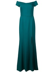 Amsale Off Shoulder Gown Green