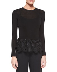 Red Valentino Long Sleeve Top W Lace Peplum Black