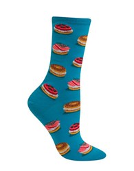 Hot Sox Bagel Printed Cotton Blend Socks Turquoise