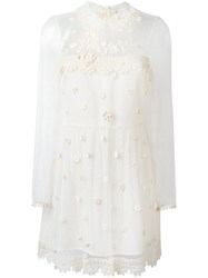 Red Valentino Sheer Lace Longsleeved Dress Nude And Neutrals