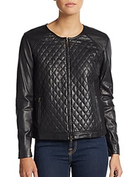 Eileen Fisher Leather Quilted Jacket Black
