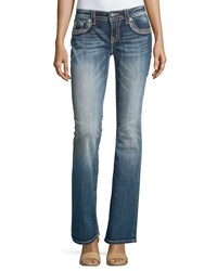 Miss Me Faded Boot Cut Embroidered Denim Jeans Dark Wash 368