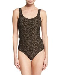 Zimmermann Textured Leopard Print One Piece Swimsuit
