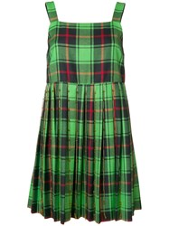 Marco De Vincenzo Checked Flared Mini Dress Green