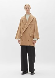 Y's Knit Melton Double Breasted Coat Beige