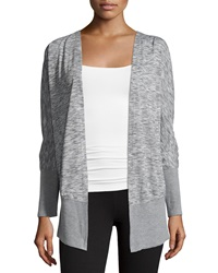 Neiman Marcus Long Sleeve Open Front Cardigan Gray