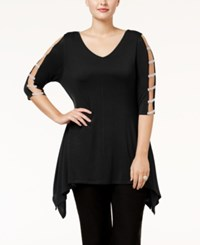 Belldini Plus Size Embellished Handkerchief Hem Tunic Black