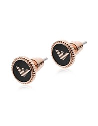 Emporio Armani Earrings Rose Gold Stainless Steel And Black Enamel Signature Earrings