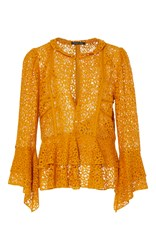 Marissa Webb Arielle Crepe And Lace Blouse Gold