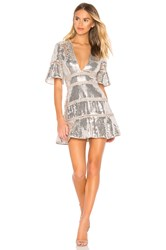 Saylor Sidney Dress Metallic Silver