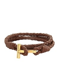 Tom Ford Leather Braided Wrap T Bracelet Black