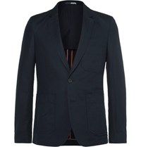 Paul Smith Ps By Blue Slim Fit Unstructured Linen And Cotton Blend Blazer Midnight Blue