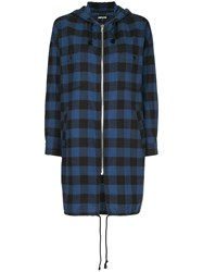 Adaptation Checked Long Hoodie Blue