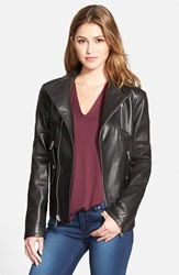 Vince Camuto Nappa Leather Bomber Jacket Black