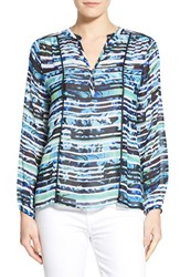 Women's Casual Studio Blouse Green Blue Digital Stripe