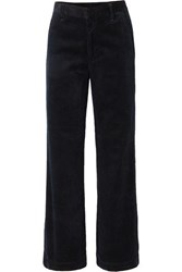 Gold Sign Goldsign The Flat Front Cotton Corduroy Wide Leg Pants Midnight Blue