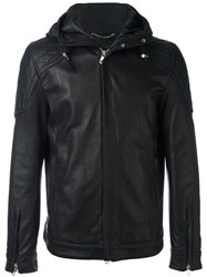 Diesel Black Gold Hooded Leather Jacket Black